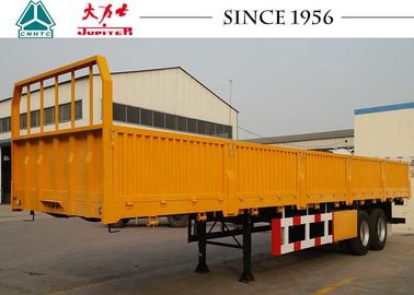 2 Axles Side Wall Trailer , Flatbed Equipment Trailer 40000 Kgs Payload